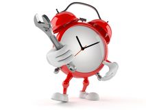 Alarm clock character with adjustable wrench Stock Image