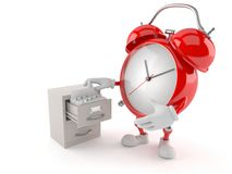 Alarm clock character with archive. Isolated on white background Royalty Free Stock Images