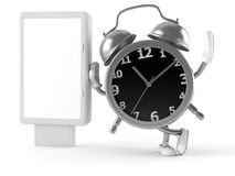 Alarm clock character with blank billboard Royalty Free Stock Photo