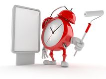 Alarm clock character with blank billboard Royalty Free Stock Image