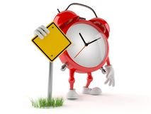 Alarm clock character with blank road sign Royalty Free Stock Photography
