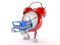 Alarm clock character carrying ring binders. On white background Stock Images