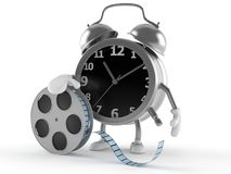 Alarm clock character with film reel. On white background Stock Images
