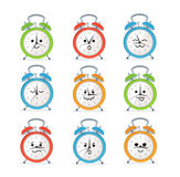 Alarm Clock Characters Mascot Set. Vector. Alarm Clock Characters Mascot Set Different Comic Emotion and Expression. Vector illustration Stock Photos