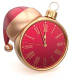 Alarm clock Christmas ball decoration New Year`s Eve bauble. Santa hat ornament red golden. Traditional wintertime future midnight countdown beginning holidays vector illustration