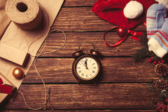 Alarm clock and christmas gifts Royalty Free Stock Photos