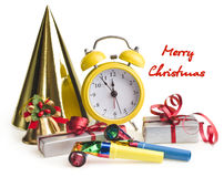 Alarm clock with Christmas presents Royalty Free Stock Photography