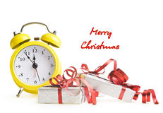 Alarm clock with Christmas presents Royalty Free Stock Image