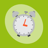 Alarm clock circle sign with chronometer pointer and deadline stopwatch speed office alarm timer minute watch vector. Illustration icon. Time tool and modern Stock Images