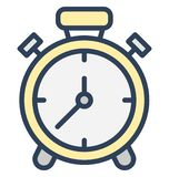 Alarm clock, clock Isolated Vector Icon That can be easily edited in any size or modified. stock illustration