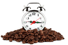 Alarm clock on a coffee Royalty Free Stock Photography
