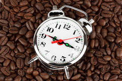 Alarm clock on a coffee Royalty Free Stock Photos