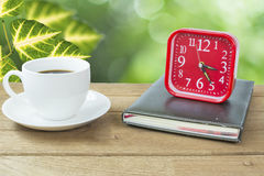 Alarm clock with coffee. coffee time concept.  Stock Photography