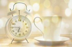 Alarm Clock, Coffee Cup, Time Of Royalty Free Stock Photos
