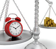 Alarm clock and coin stack on scales Royalty Free Stock Photos
