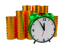 Alarm clock and coins Stock Photography