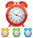 Alarm clock. Collection of 4 color alarm clocks royalty free illustration