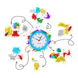Alarm clock with colored business sketches Stock Photo