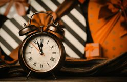 Vintage clock on christmas background royalty free stock photography