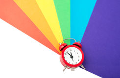 Alarm clock with colorful paper Royalty Free Stock Images