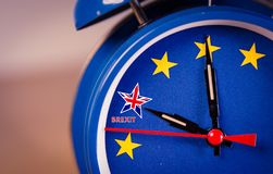 Retro alarm EU clock representing the countdown until Brexit. royalty free illustration
