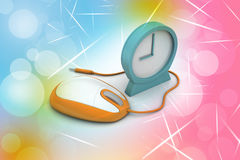 Alarm clock and computer mouse Royalty Free Stock Photography
