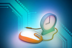 Alarm clock and computer mouse Stock Photo