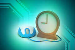 Alarm clock and computer mouse Royalty Free Stock Photos