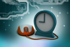 Alarm clock and computer mouse Royalty Free Stock Images