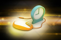Alarm clock and computer mouse Royalty Free Stock Photo