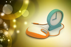 Alarm clock and computer mouse Stock Image