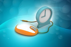 Alarm clock and computer mouse Royalty Free Stock Image