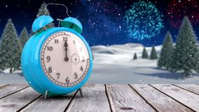 Alarm clock counting down to midnight for new year stock video