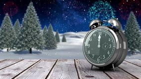 Alarm clock counting down to midnight for new year stock video footage