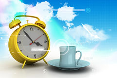 Alarm clock with cup of tea Royalty Free Stock Photo