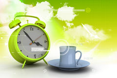 Alarm clock with cup of tea Royalty Free Stock Photos