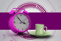 Alarm clock with cup of tea Stock Image