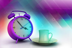 Alarm clock with cup of tea Stock Photography