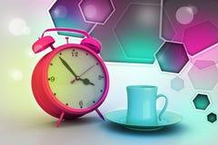 Alarm clock with cup of tea Stock Photos