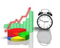 Alarm clock with 3d chart Stock Photography