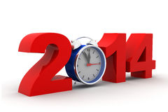 2014 with alarm clock. 3d render of 2014 with alarm clock stock illustration