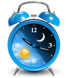 Alarm clock. Day and night cycle, vector illustration Stock Photo