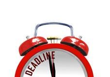 Alarm clock with DEADLINE. Over white Stock Photo