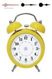 Alarm clock_dial_arrows. Clock. Alarm clock, in a yellow box Royalty Free Stock Photography