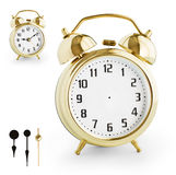 Alarm clock DIY kit from gold metal. Clipping path is included. Stock Images