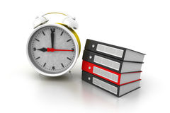 Alarm clock and documents. 3d render of Alarm clock and documents Stock Image