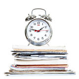 Alarm-clock and documents Stock Image