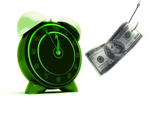 Alarm clock and dollar. Bill on a fishing hook Royalty Free Stock Photography