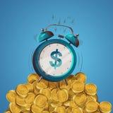 Alarm clock dollar. Dollar sign cartoon alarm clock on a mountain of gold coins. Vector illustration Royalty Free Stock Photo