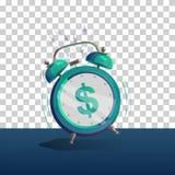 Alarm clock dollar. Dollar sign cartoon alarm clock. Vector illustration.  object Royalty Free Stock Photos